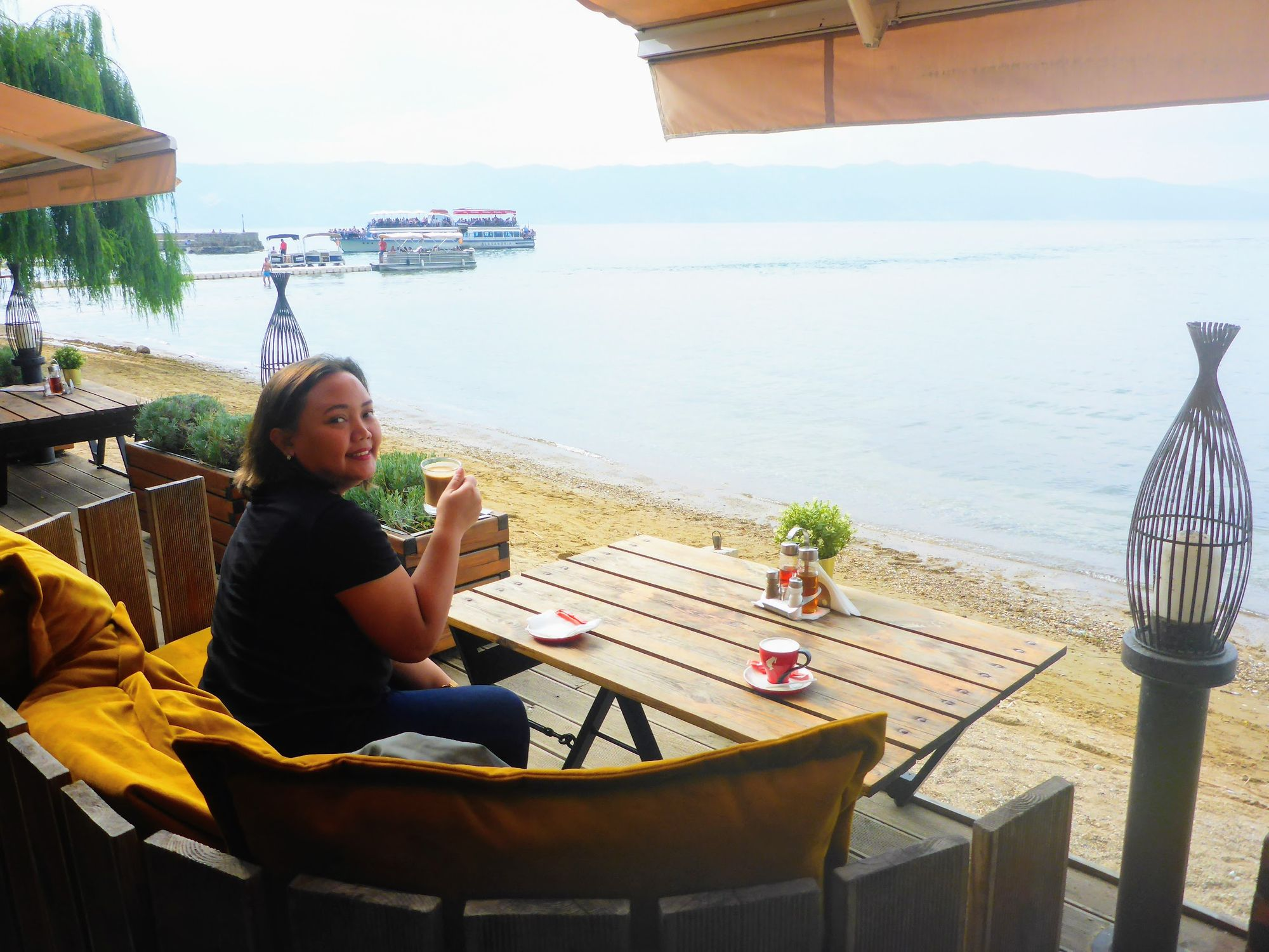 Sipping a coffee in St. Naum